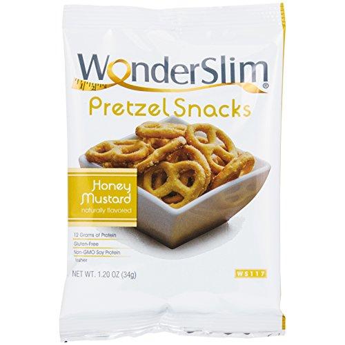 WonderSlim High Protein Pretzel Snacks - Low-Carb Diet Healthy 12g Protein Snack For Weight Loss, Honey Mustard, 10 (Kosher Vegan Honey)