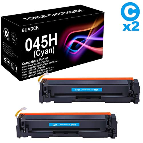 Compatible 2 Pack High Yield CRG-045H Toner Cartridge Work with Canon Color imageCLASS LBP612Cdw Printer (Cyan), Sold by BUADCK ()