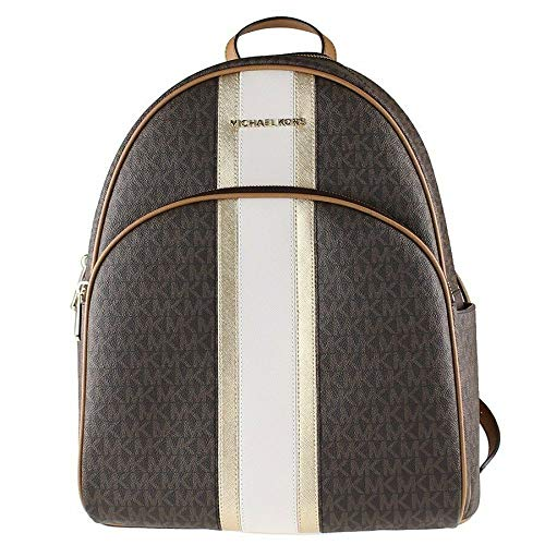 Michael Kors Abbey Backpack Center Stripe in PVC Signature Brown/Pale Gold