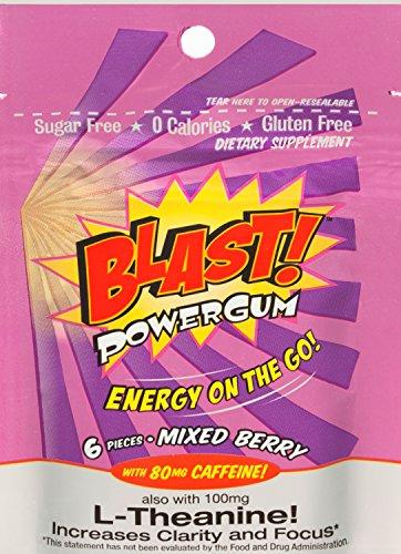 Blast Power Gum Mixed Berry Flavor with 80mg Caffeine, 6 Pieces per (Power Gum)