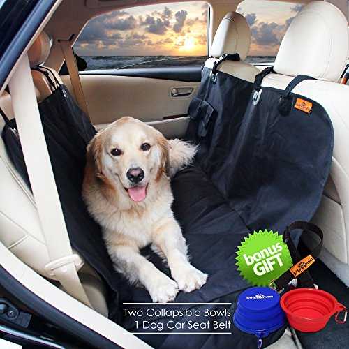 Dog Hammock Seat Cover for Cars & SUV with Side Flaps BARKNPURR PERFECT- Pet Waterproof Back Seat Rear Bench Protector with Non Slip Backing, Seat Anchors, Seat Belt & Latch Openings, Machine Washable (Hammock Deluxe Explorer)