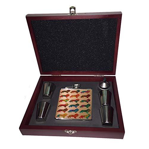 OKSLO 6 oz. leather flask set in rose wood presentation box - collie dog pretty Model kk3140