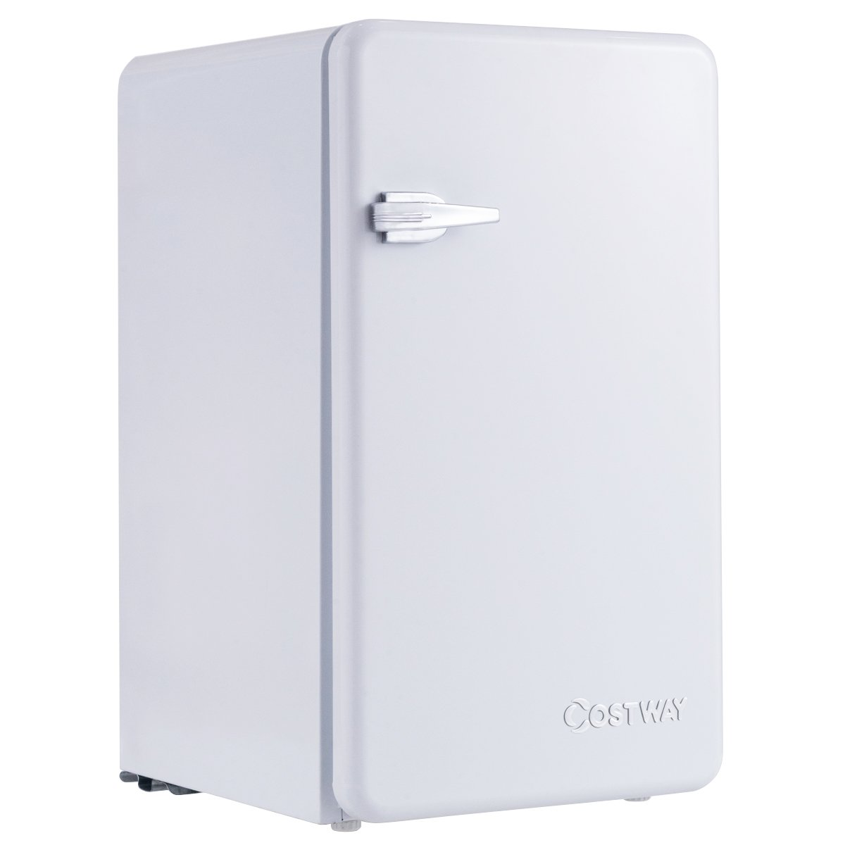 Costway Compact Refrigerator Single Door Mini Fridge with Freezer, 3.2 Cubic Ft. w/Handle (White)
