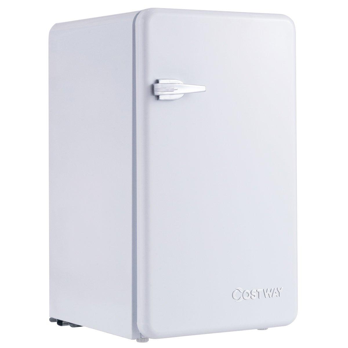 Costway Compact Refrigerator Single Door Mini Fridge with Freezer, 3.2 Cubic Ft. w/Handle (White)
