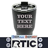 Engraved Custom RTIC Cup Tumbler - Personalized 30 oz Powder Coated Cups with Double Walled Vacuum Sealed - ANY TEXT (Black)