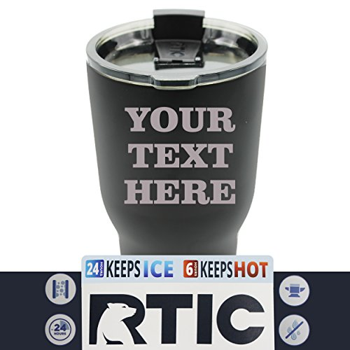 Engraved Custom RTIC Cup Tumbler - Personalized 30 oz Powder Coated Cups with Double Walled Vacuum Sealed - ANY TEXT (Black) by The Wedding Party Store