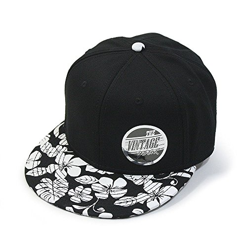 Twill Adjustable Flat Bill Snapback Hats Baseball Caps (Flower/Black/Black) ()