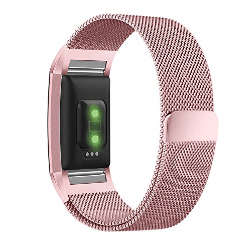 UMTELE for Fitbit Charge 2 Band, Milanese Loop Stainless Steel Metal Bracelet Strap with Unique Magnet Lock, No Buckle Needed for Fitbit Charge 2 HR Fitness Tracker Pink Gold Small