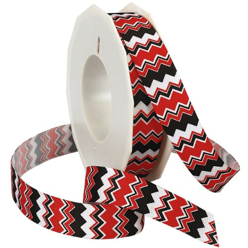 Morex Ribbon Chevron Printed Grosgrain Ribbon, 7/8-Inch by 20-Yard Spool, Red/Black