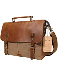 Men Briefcase Leather Canvas Laptop Satchel Messenger Work Bag Fit up to 13.3-inch , Coffee