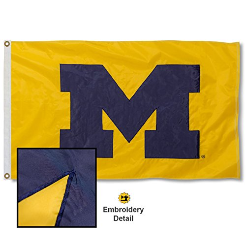 (University of Michigan Maize Block M Embroidered and Stitched Nylon Flag)