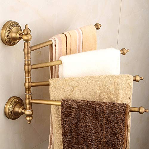 GTTBS European Retro Bathroom Towel Rack Set, Bathroom Fine Copper Activity Towel Bar Soap Dish Hair Dryer Bracket Wall Mounted 6 Piece Combination by GTTBS (Image #2)