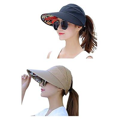 754cbb1188b Amazon.com  Sun Visor Hats for Women Wide Brim Sun Hat UV Protection ...