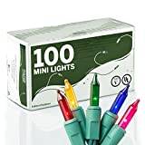 100 Multi Colored Miniature Christmas Lights Set - Mini Holiday String Lights
