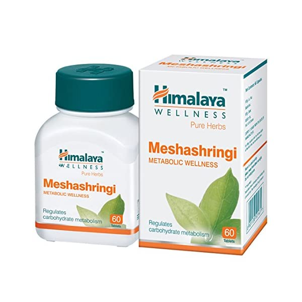 bottle containing Meshashringi Tablets for diabetes by Himalaya