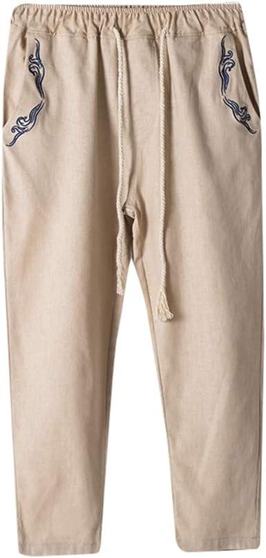 HucodeVan Pantalones de Hombre Casual Pantalón Algodón Lino cordón ...