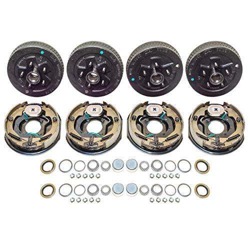 "2 Sets Trailer 5 on 4.5"" Hub Brake Drum 10 x 2.25 Electric Brake Bearing Kit 3500 lb Axle"