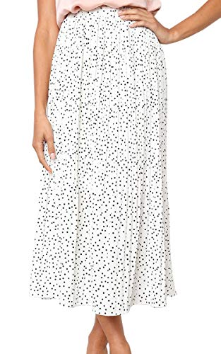 (ECOWISH Womens Polka-dot Pockets Pleated Skirt Vintage Puffy Swing Casual Dress White S)