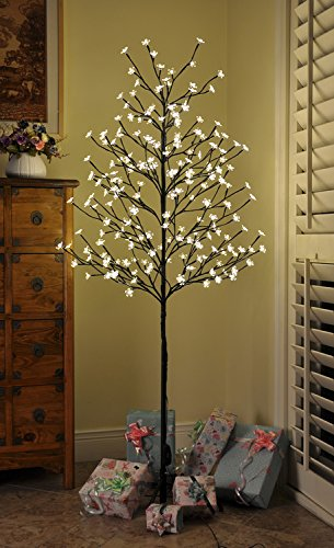 PatioBuddy Christmas Cherry Blossom Tree Lights with Flexible Branches,6 Feet 208 LED Lights,Warm White,Ideal for Christmas, Holiday, Home, Party, Wedding (Trees Inside)
