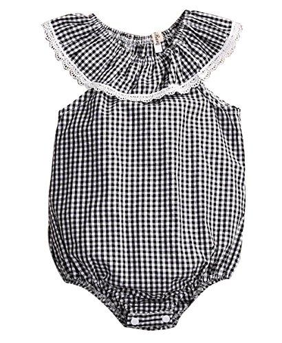 Newborn Baby Girls Lattice Retro Lace Sleeve Romper Bodysuit (Retro Baby Clothes)
