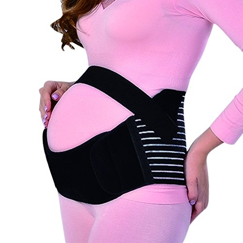 Yuccer Maternity Support Belt, Breathable Pregnancy Belly Band for Women Exercise Back Pain Relief Plus Size (Black, XXL) -