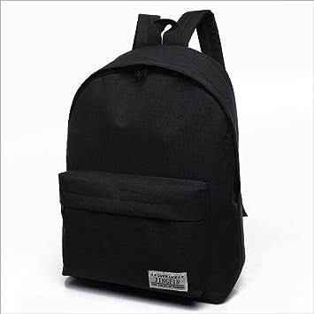 Mango King - 1 mochila de lona de color puro para estudiantes, bolsa de lona para el hombro, mochila de viaje, color negro: Amazon.es: Oficina y papelería