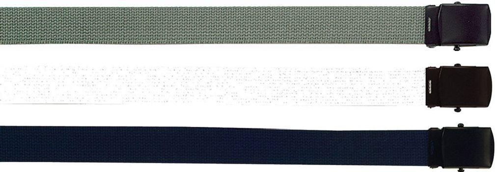 3 Pack - Military Web Belts with Black Buckle - 54'' (Navy Foliage White)