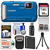 Panasonic Lumix DMC-TS30 Tough Shock & Waterproof Digital Camera (Blue) with 16GB Card + Case + Battery + Flex Tripod + Kit