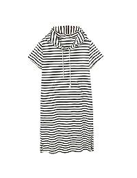 KOERIM Women Summer Casual Short Sleeve Striped Loose Midi Dress Plus Size
