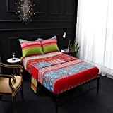 FADFAY 100% Cotton Bohemian Floral Bed Sheets Set Boho Style Fitted Sheets 4Pcs Bedding Sets Twin