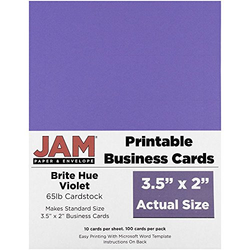 (JAM PAPER Printable Business Cards - 3 1/2 x 2 - Brite Hue Violet - 100/Pack)