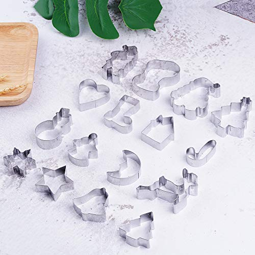 Cookie Cutters (16 Piece),Stainless Steel Baking Shape Molds For Making Muffins, Biscuits, Christmas Tree, Christmas Hat, Santa Claus, Angel, Reindeer, Bell, Socks ect.