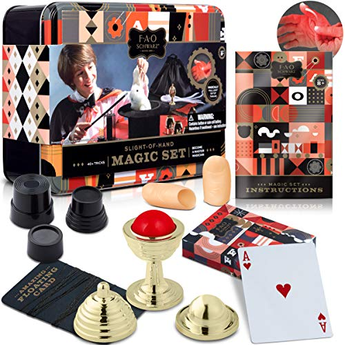 FAO Schwarz 8 Piece Toy Magic Trick Set for Kids, Easy to Learn Kit Comes with Playing Cards, Floating Card Trick, Fake Fingers, Coin and Ball Cups, & Instruction Book with 40+ Tricks, Gift Tin ()