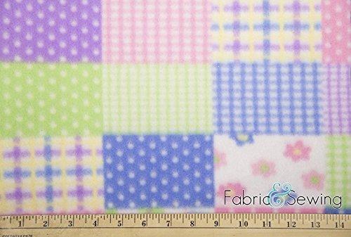 Pastel Patchwork Anti-Pill Polar Fleece Fabric Polyester 13 Oz ()