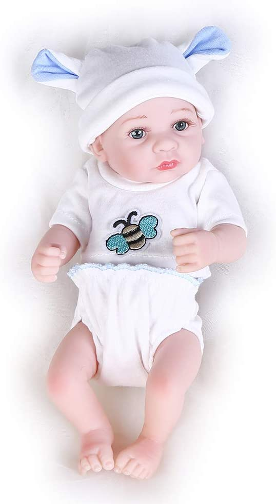 Pompon 10 Inches Lifelike Reborn Baby Dolls Realistic Handmade Baby Dolls Real Life Baby Dolls Full Body Silicone Baby Doll