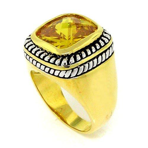 2-tone Designer-Inspired Bold'n Sleek Ring w/Golden CZ Size 10