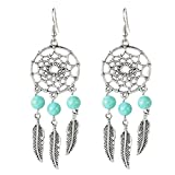 Dreamcatcher Leaves Pendant Dangle Earings Eardrop Retro Jewelry for Women Lady Girls Silver Plated