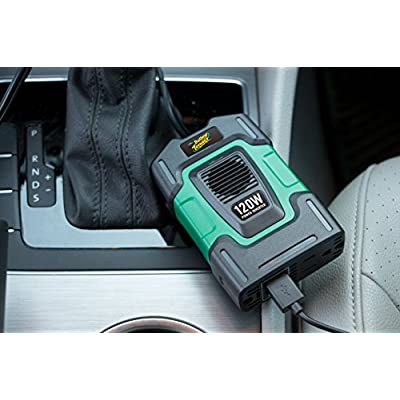 Battery Tender 12V, 120W Power Inverter: DC 12V to 115V AC Car Inverter, Power Game Consoles, Digital Cameras, Tablets, or Cell Phones, 2 USB Ports: 5 VDC, 2.4A Combined Total Output: Automotive
