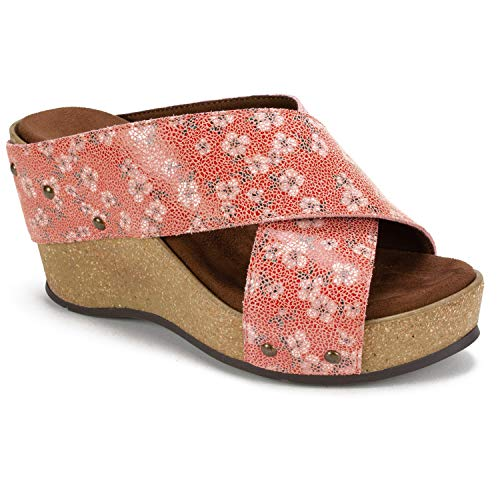 WHITE MOUNTAIN Shoes Cuttler Women's Wedge, Cherry/Blossom/Crack/Suede, 8 M ()