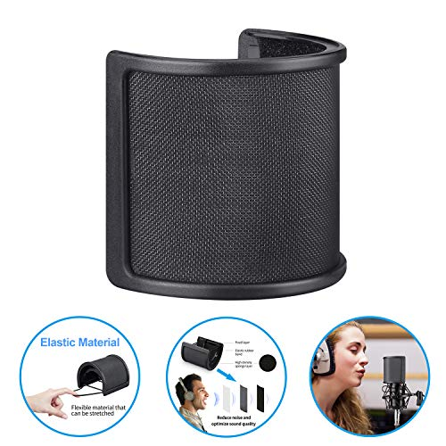 Pop Filter, Aokeo Profressional Three Layers Metal Mesh & Foam & Etamine Layer Microphone Pop Filter,Microphone Windscreen Cover,Handheld Mic Shield Mask for Vocal Recording, YouTube Videos, Streaming (Stedman Proscreen Xl Pop Filter)