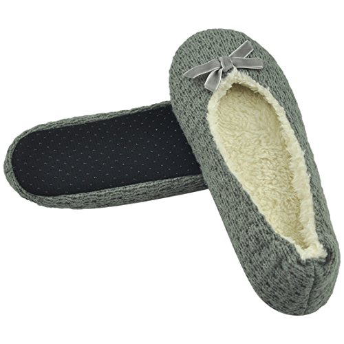 Forfoot Womens Ballerina Slippers Indoor With Non Slip Soft Sole Knit Light Gray Yh5K4