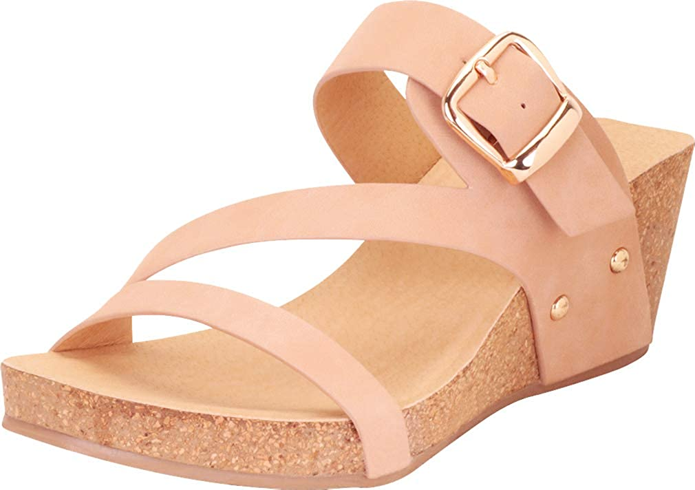 Nude Pu Cambridge Select Women's Credver Strappy Buckle Chunky Platform Mid Wedge Sandal