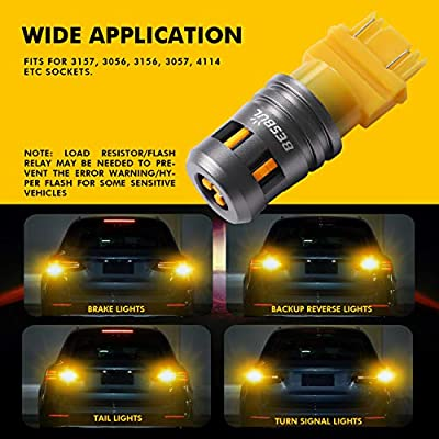 Besbul 3157 LED Bulb Amber, Extremely Bright 3157na 3156 4114 4157 LED High Lumens 12-40V Wide Voltage Compatible For Brake Reverse Tail DRLs Lights Amber Yellow, Pack of 2: Automotive