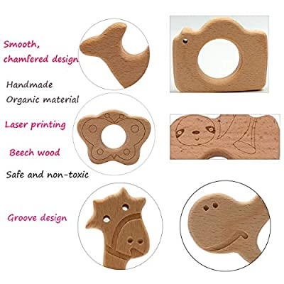 Alenybeby 2pcs Organic Baby Teething Product Beech Wooden Animal Teether DIY Wood Pendent Eco-Friendly Safe Baby Chew Toys (Elephant): Toys & Games