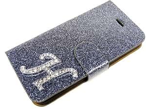 Exklusive-Cad SAM-S3-MINI-Etui-Glamour-H-Grau Exklusive Cad-Samsung Galaxy S3 MINI Glamour Glitzer Strass Carcasas Carcasa del tirón Tasche carcasa de la carcasa mit Magnetverschluss - Buchstabe H en Grau