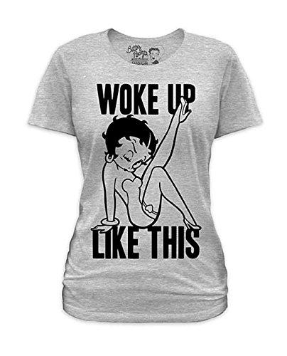 Licensed Betty Boop Leg (Junior's Betty Boop Woke Up Like This Heather Gray Short Sleeve T-Shirt)