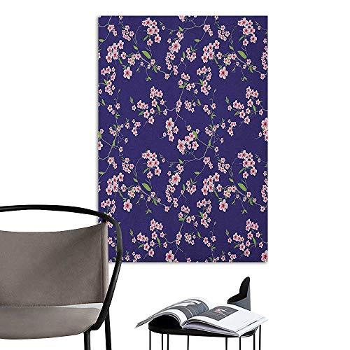 (Alexandear Wall Mural Wallpaper Stickers Japanese Blooming Sakura Cherry Branches Chinese Asian Oriental Kimono Pattern Purple Rose Fern Green Art Mural Decals W8 x)