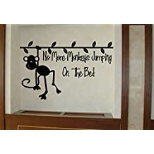 No More Monkeys Jumpin' on the Bed! Quote Wall Sticker Quote Decal Wall Art Decor G5787