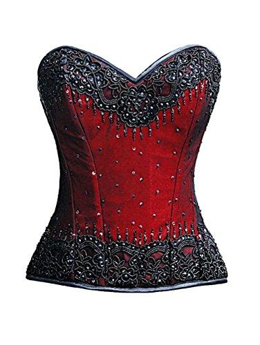 境界開発偽造Red Satin Black Handmade Sequins Gothic Burlesque Waist Training Overbust Corset