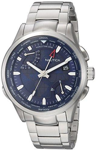 Nautica Men's 'SHANGHAI' Quartz Stainless Steel Sport Watch, Color:Blue (Model: NAPSHG003)